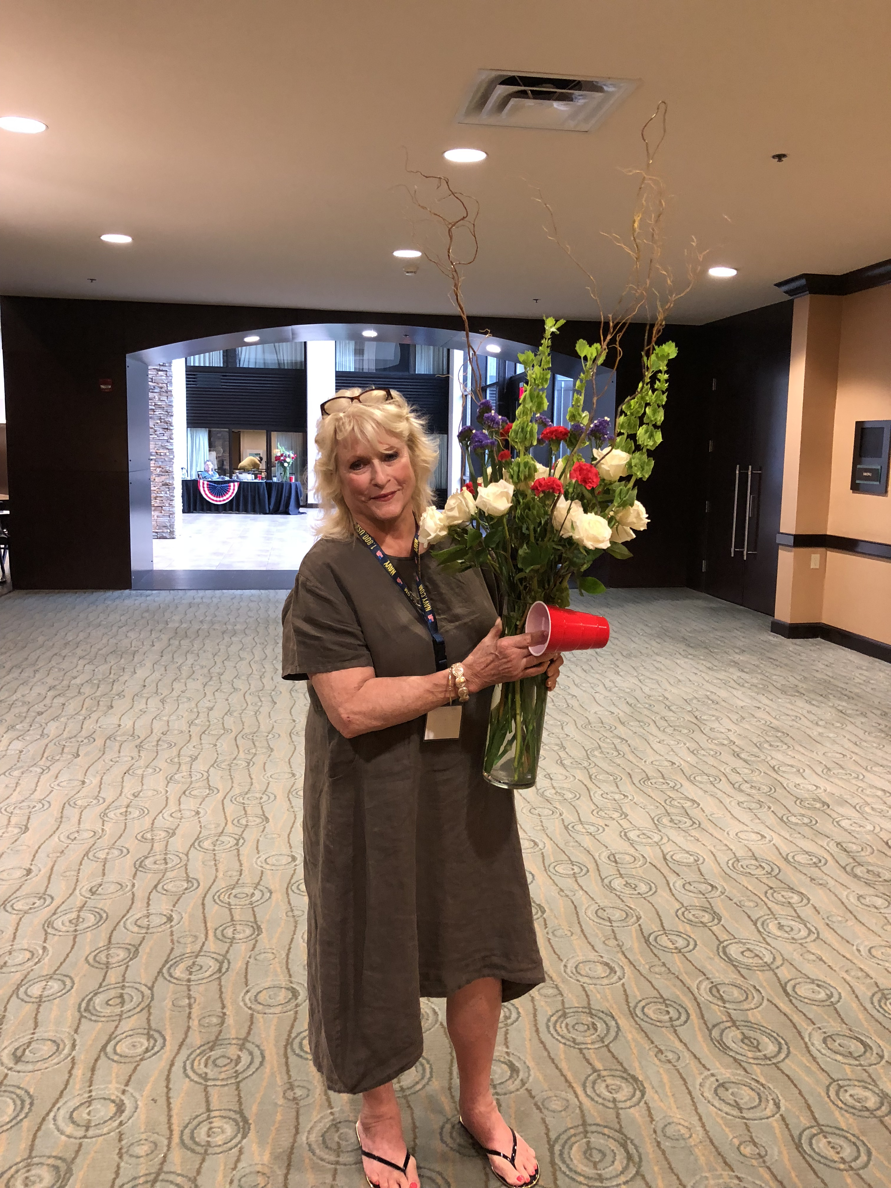 0002Mrs. Norlund with Flowers Arrangement she made